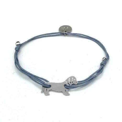 Munich Jewels Armband Zamperl rhodiniert mit grauem Stoffband