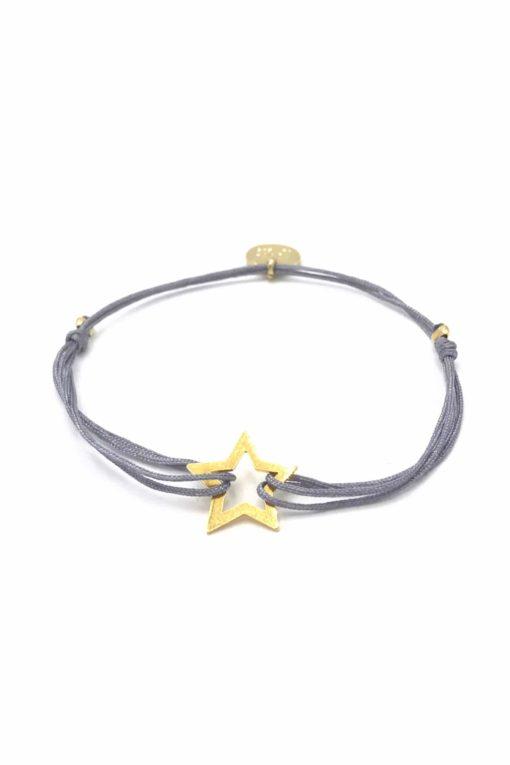 Munich Jewels Stern Armband vergoldet mit grauem Stoffband