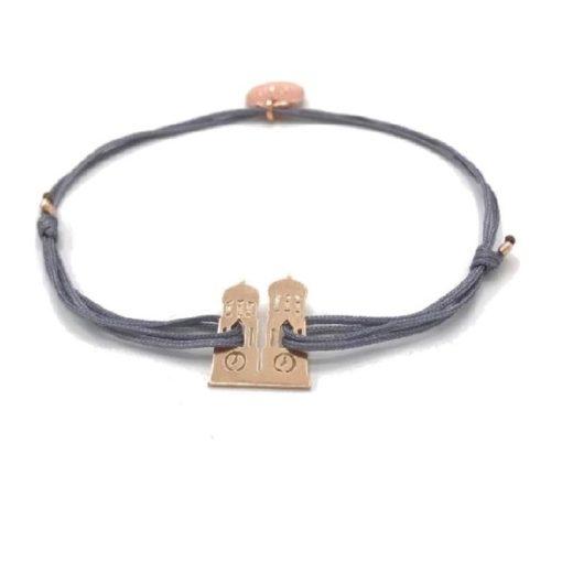 Munich Jewels Armband Frauendom rosévergoldet mit grauem Stoffband