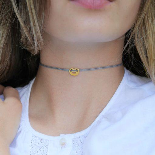 Munich Jewels Choker Mini Breze vergoldet Grau Detail